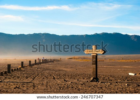 Sign to mount Bromo at plateau, east Java, Indonesia - stock photo