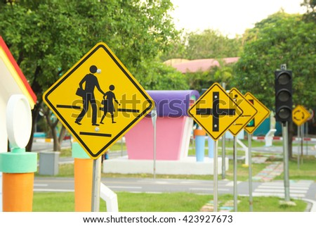 Sign traffic on roads for practice drive car,  - stock photo