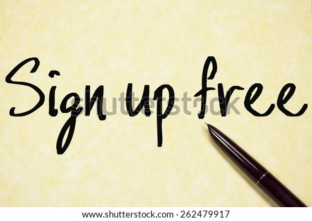sign up free text write on paper  - stock photo