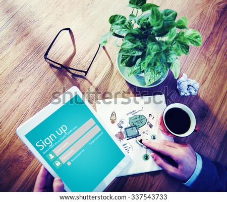 Sign Up User Name Password Log In Protection Concept - stock photo