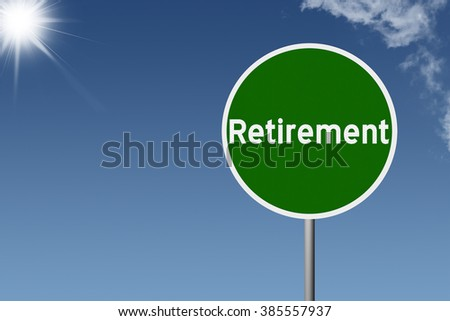 Sign with text Retirement on sky background - stock photo