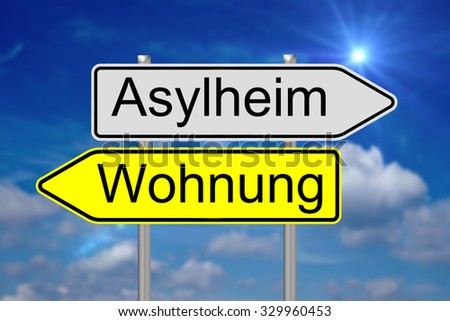 sign with the german words asylum home and apartment / Asylum home - stock photo