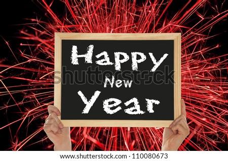 Sign with the words Happy New Year / New Year's Eve - stock photo