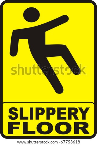 sign with yellow background indicating a slippery wet floor - stock photo