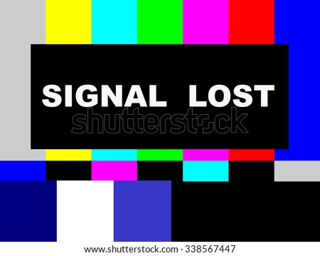 Signal Lost SMPTE color bars television test pattern  - stock photo