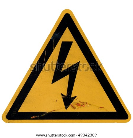 Signal of danger of death by electrocution following an electric shock - stock photo