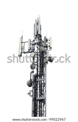 Signal transmitter tower isolated on white - stock photo