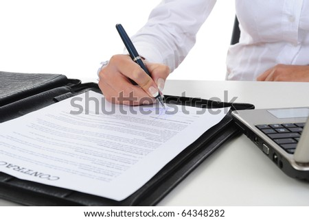 Signature of the contract. Isolated on white background - stock photo