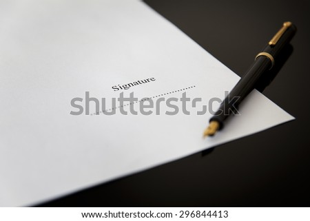 Signature Paper with a Fountain Pen - stock photo
