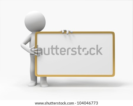 signboard/3d people hold an empty signboard - stock photo
