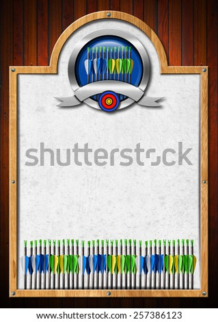 Signboard for Archery. Empty signboard with wooden frame and metallic archery symbol. Template for archery sport - stock photo
