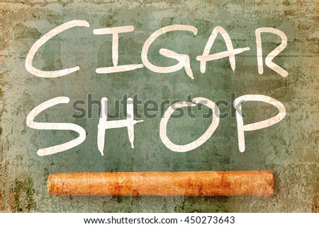 Signboard of cigar shop overlap with old wall textured background. retro filter. - stock photo