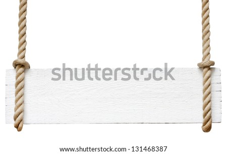 Signboard on the rope isolated on white background - stock photo