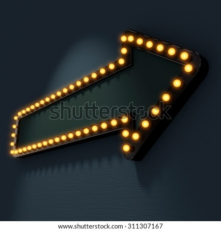 Signboard pointer with glowing bulbs. Blank for text. 3d render - stock photo