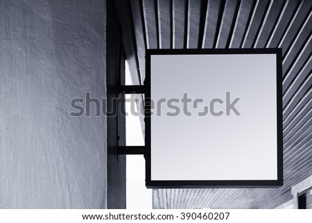 Signboard shop Mock up square shape display outdoor - stock photo