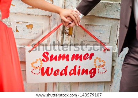 Signboard summer wedding - stock photo
