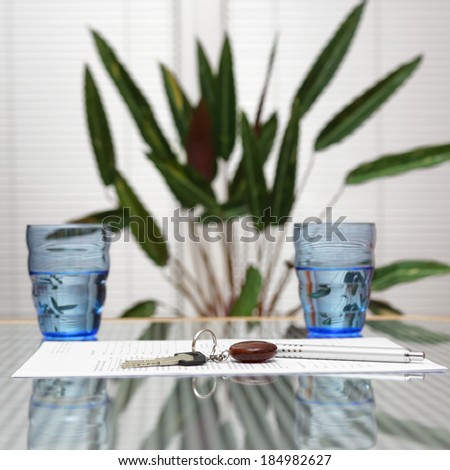 signed real estate document at home - stock photo