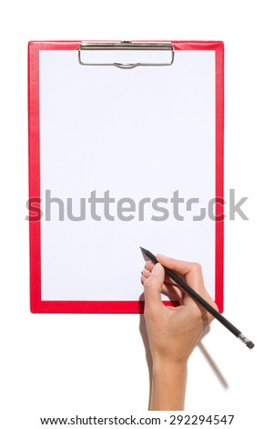 Signing A Document. Close up of woman's hand holding black pencil with rubber and writing on a clipboard with empty paper sheet. Studio shot on white background with shadow. - stock photo
