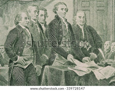 Signing  declaration of independence from us two dollar bill macro, united states money closeup - stock photo