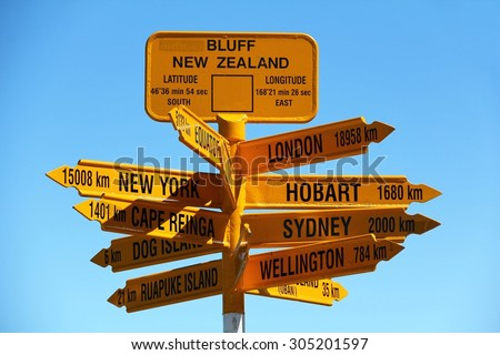 Signpost at Stirling Point, Bluff, New Zealand - stock photo