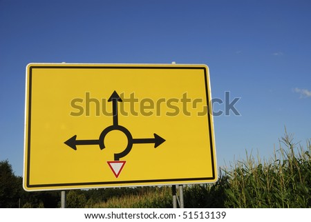 Signpost for the directions in a traffic circle - stock photo
