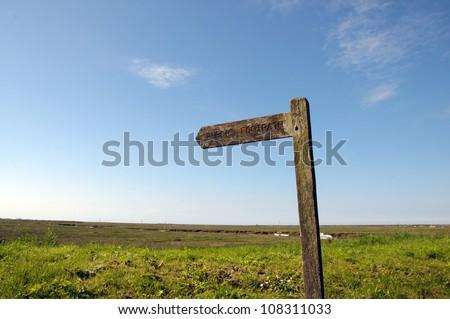Signpost on North Norfolk coastal path - stock photo