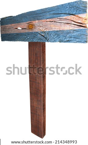 Signpost timber from Argentina - stock photo