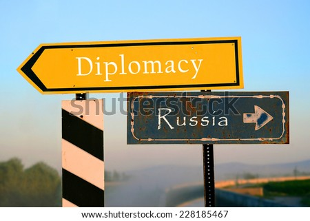 signpost to diplomacy or to Russia. choice, decision - stock photo
