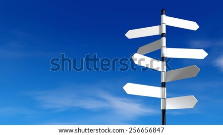 signpost with multiple empty arrows with blue sky - stock photo