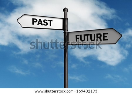Signpost with past and future direction choices - stock photo