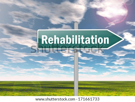 Signpost with Rehabilitation wording - stock photo
