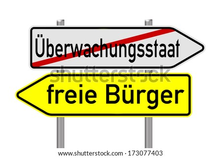 Signpost with the german words surveillance state and free citizens / surveillance state - stock photo