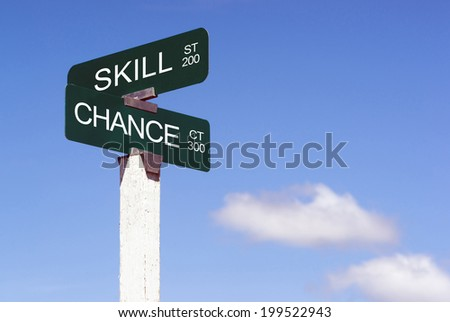 Signs Crossroads Skill Street Chance Avenue Sign Blue Skies Clouds - stock photo