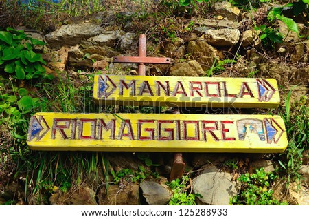 signs for the trails Cinque Terre Italy - stock photo