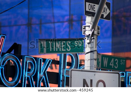 Signs in Times Square - stock photo