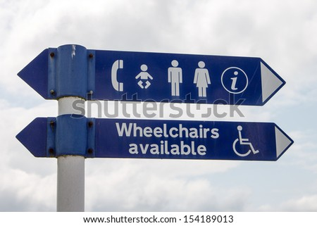 Signs indicating the direction of public services - stock photo