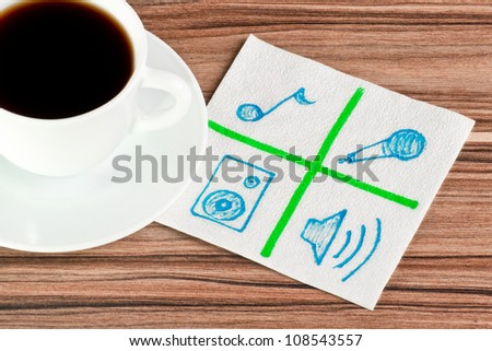 Signs of music on a napkin and cup of coffee - stock photo