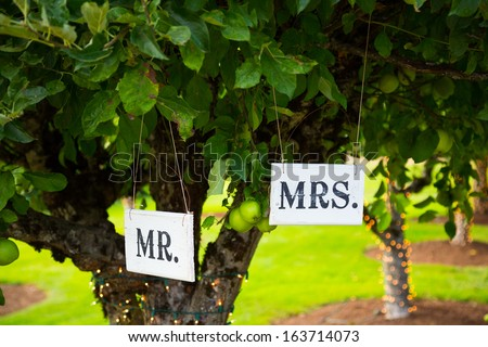 Signs read Mr and Mrs or Mr. and Mrs. at a wedding reception above the bride and groom table. - stock photo
