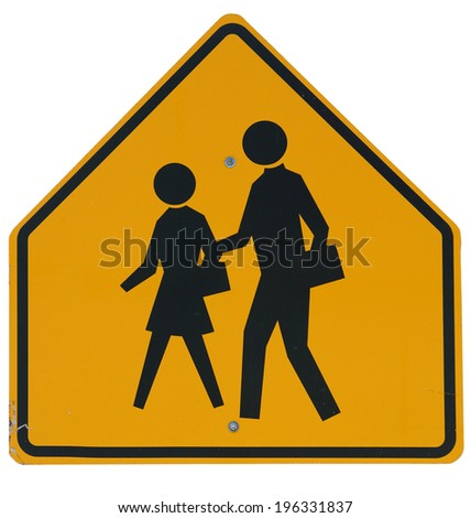 Signs: School Zone Ahead Street Sign - stock photo