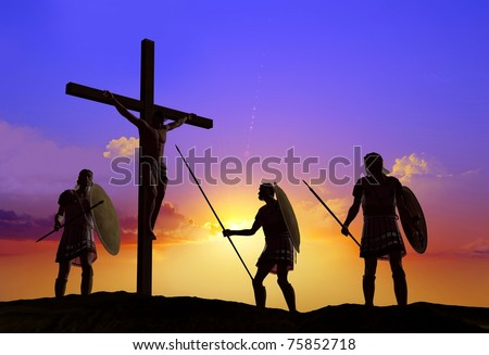 Sileet warrior about the crucified Jesus - stock photo