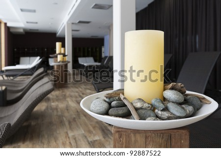 silent room for relaxing  to get away from it all with modern furniture and decoration - stock photo