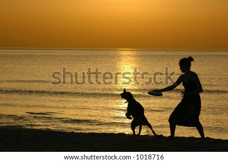 Silhouette at sunset - stock photo