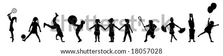 silhouette banner of children playing various activities - stock photo