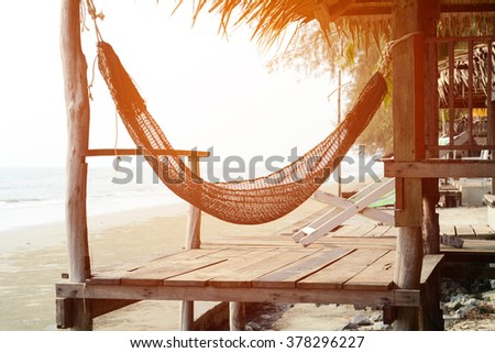 silhouette bed with seaside - stock photo