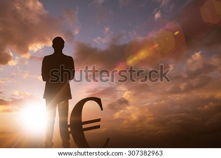 Silhouette beside euro symbol against sun shining - stock photo
