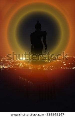 Silhouette Big Buddha Buddhist Thailand - stock photo