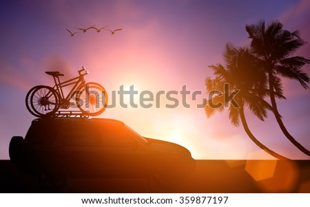 silhouette bike on rack car and coconut silhouette - stock photo