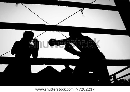 Silhouette boxing fight - stock photo