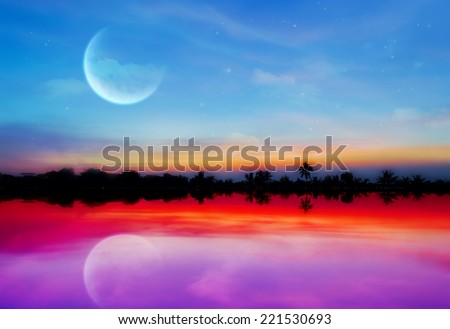 silhouette Bright and beautiful sunset with moon - stock photo