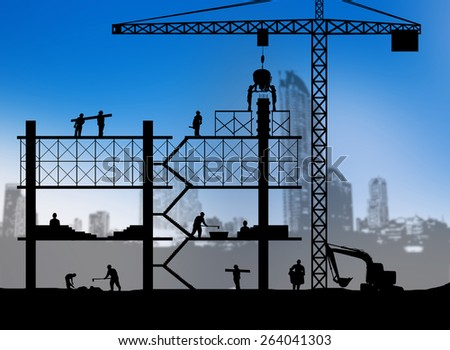 silhouette building site over Blurred city Scape - stock photo